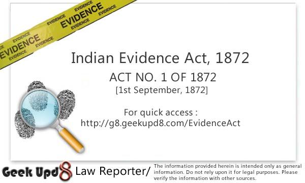 Indian Evidence Act 1872 Full Bare Act Pdf Download Evidence