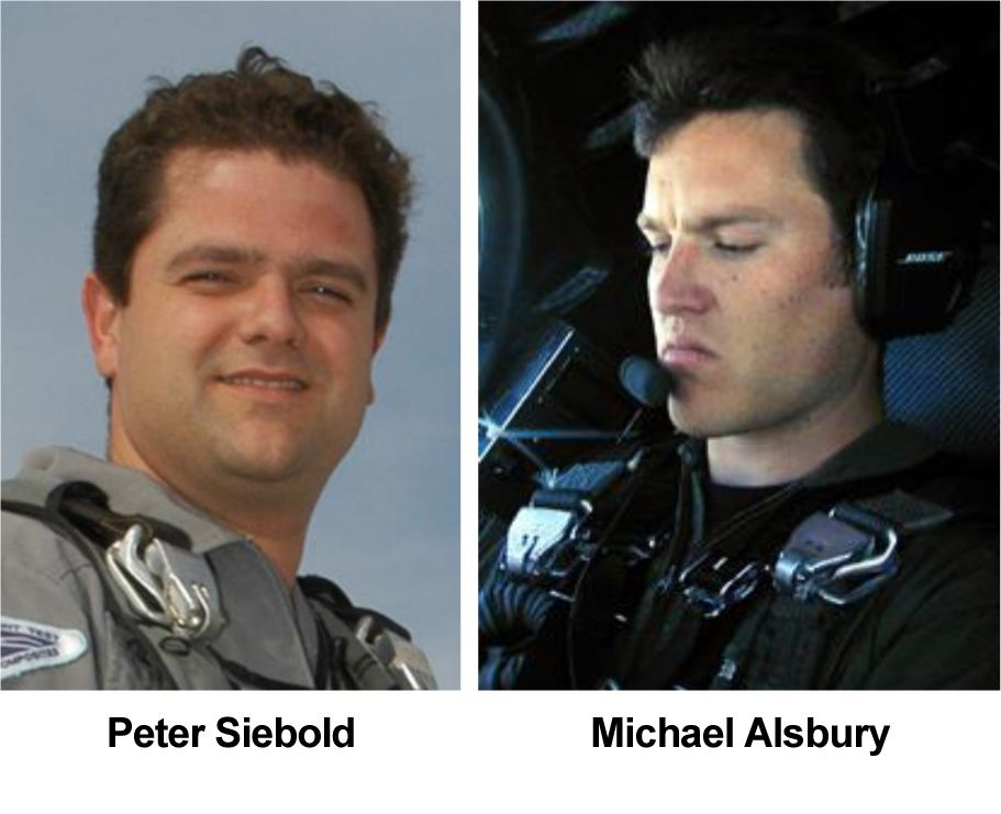 Scaled Composites test pilots Peter Siebold (left) and Michael Alsbury were flying Virgin Galactic's first SpaceShipTwo when it broke apart and crashed over California's Mojave Desert on Oct. 31, 2014. Alsbury was killed in the crash, which seriously injured Siebold.<br />