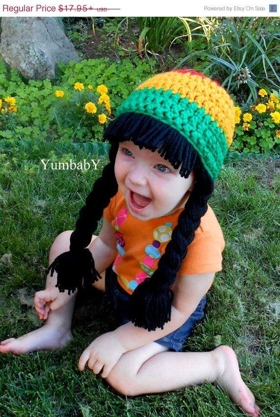 494377f9fbc On Sale Baby Girl Rasta Beanie Wig Hat Rastafarian Red Green Yellow  Halloween Costume