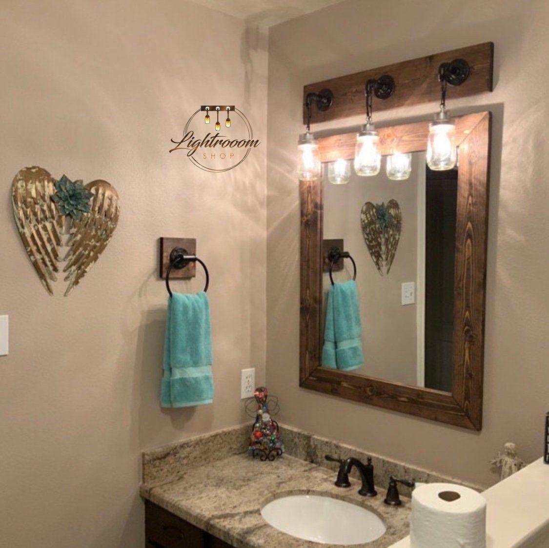 Dark Walnut Farmhouse Mirror Country Wood Frame Mirror Wood Mirror Bathroom Mirror Wall Mirror Vanity Mirrors Cottage Large Mirror Vanity Light Fixtures Mason Jar Light Fixture Rustic Bathroom Decor