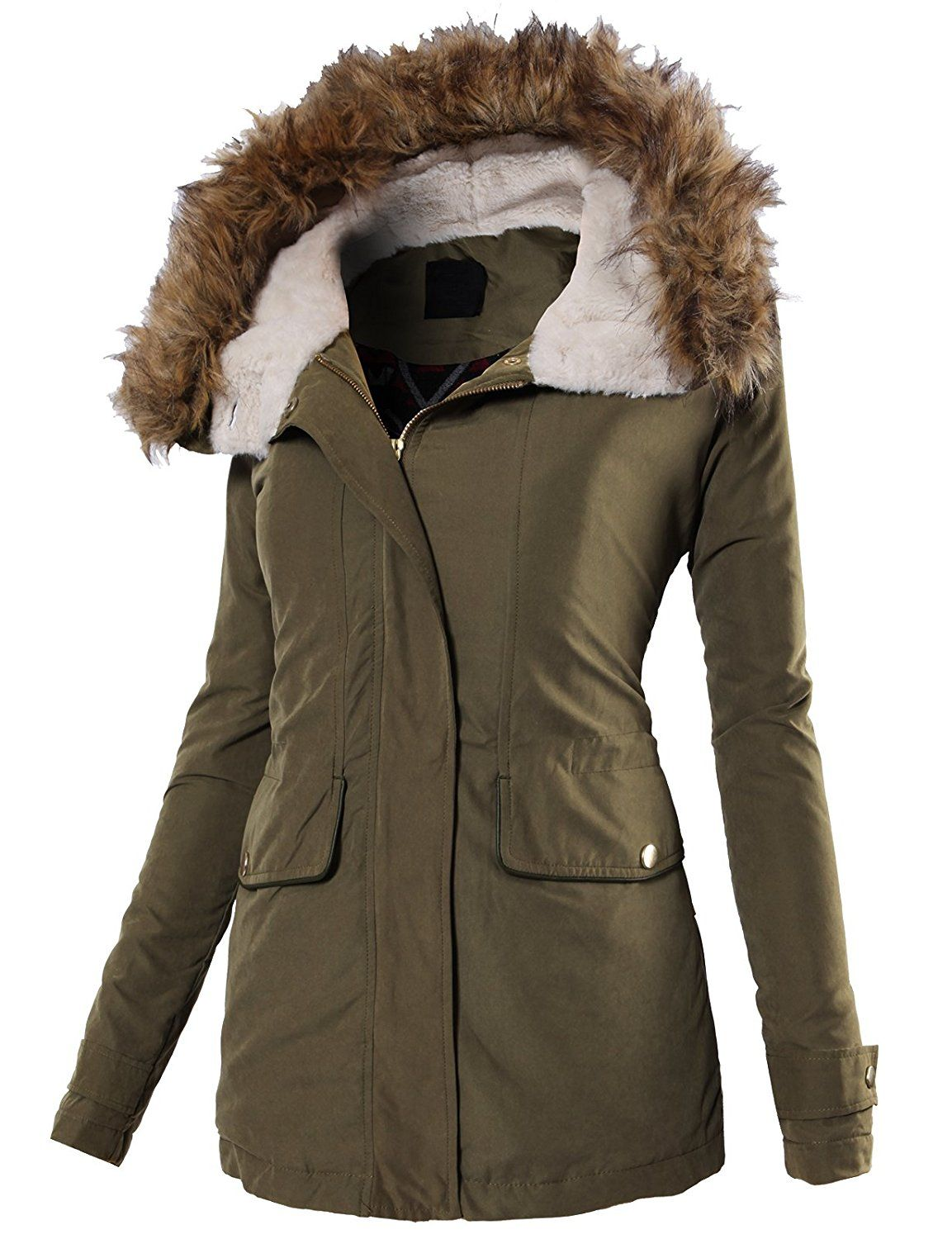 H2H Womens Classic Hooded Warm Winter Coats Faux Fur Lined