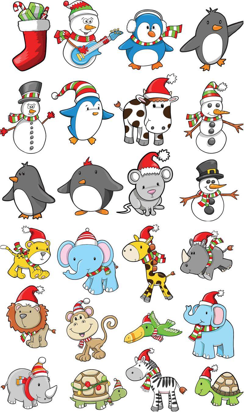 Christmas Images Free Cartoon.Cartoon Christmas Animals Vector Free Vector Graphic