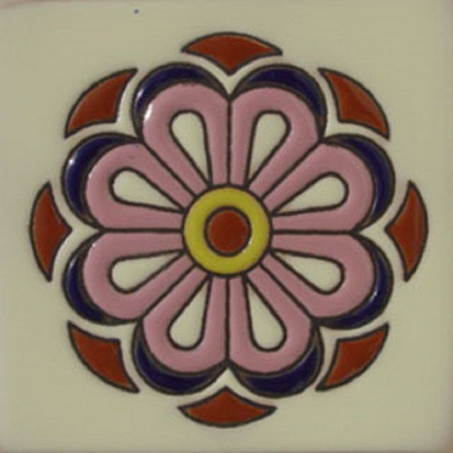 """Carved Wood Stair Risers Stair Ideas Stamped Leather: Relief Tile """"Pink Flower"""" In 2020"""