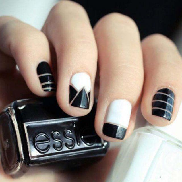 Nail art noir, blanc et doré , Magazine Avantages