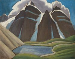 Mountain Sketch XXXI (Moraine Lake) by Lawren Harris, ca.1927. Oil on paperboard | Vancouver Art Gallery