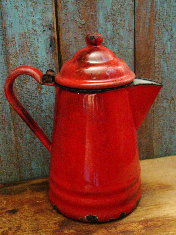 Primitive Farmhouse Kitchen Red Graniteware Coffee Pot