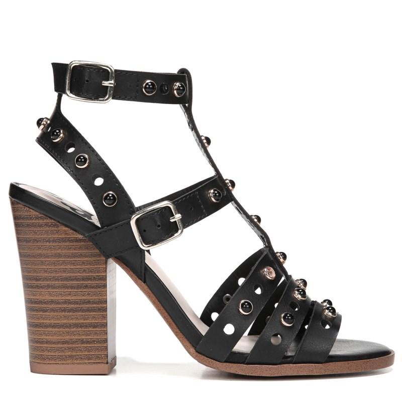 Womens Ladies Block Heel Pearl Detail Ankle Strap High Heels Shoes Size