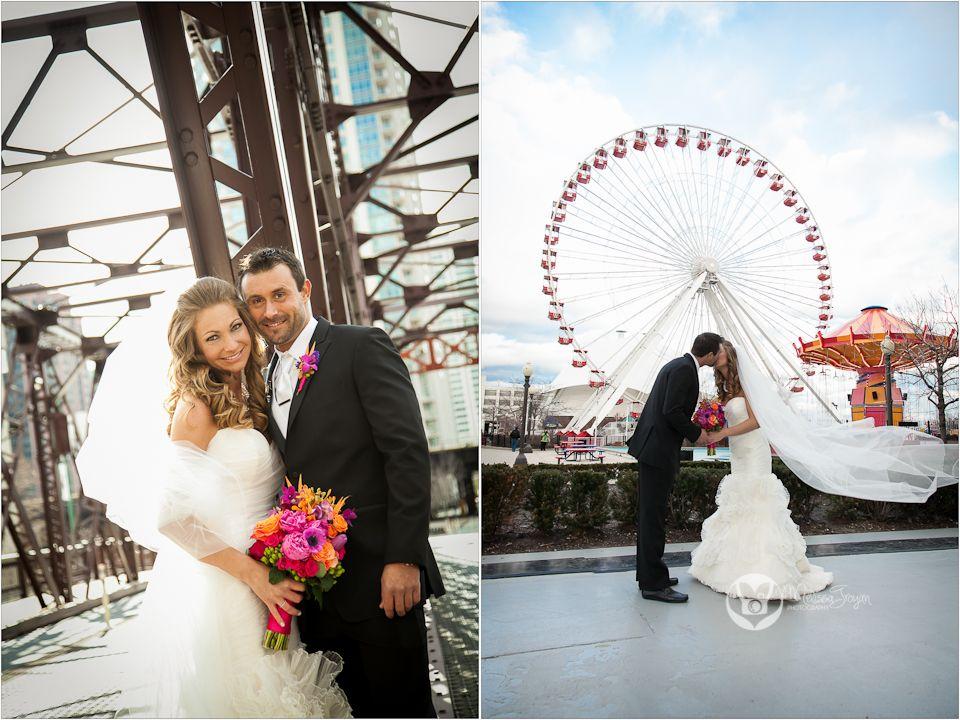 Chicago Wedding Bride And Groom Kiss Navy Pier Spring Kinzie Street Bridge