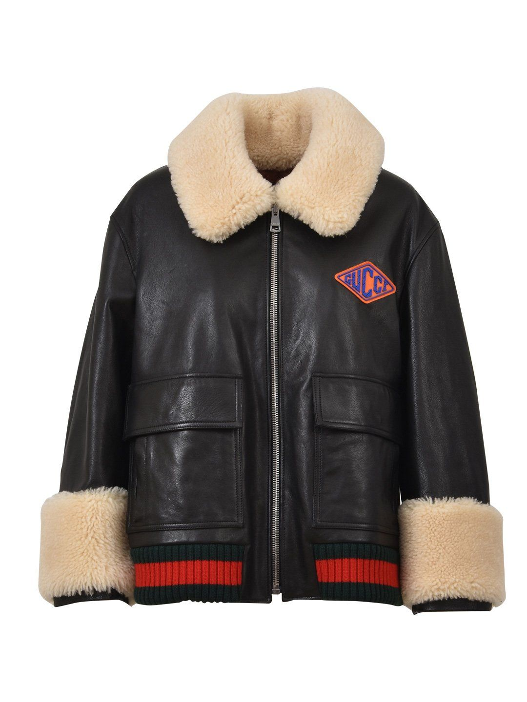 332d2ae8e07bf GUCCI GUCCI FAUX SHEARLING LINED LEATHER JACKET.  gucci  cloth ...