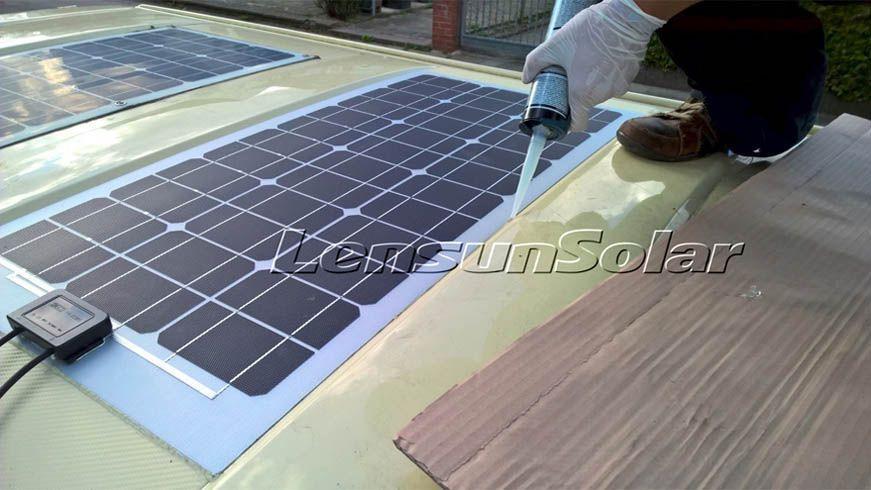 Glue Lensun 50w Flexible Solar Panel On The Roof Of Car Vw T4 Camping Van Camper Motorhome Caravan Off Road Solar Panels Flexible Solar Panels Solar