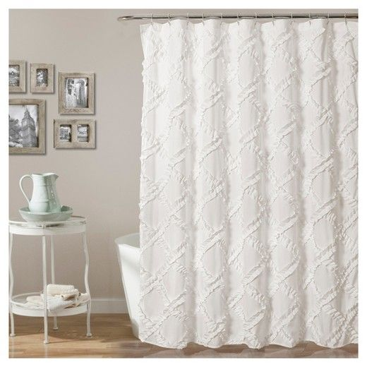 GUEST BATH Ruffle Diamond Shower Curtain