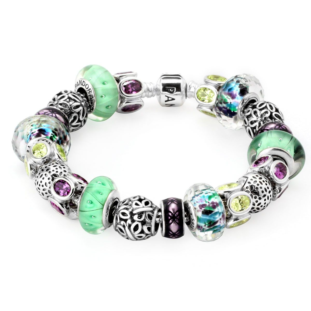 Pandora Bracelet With Lovely Mix Of Pale Green And Purple Charms   Goldcasters