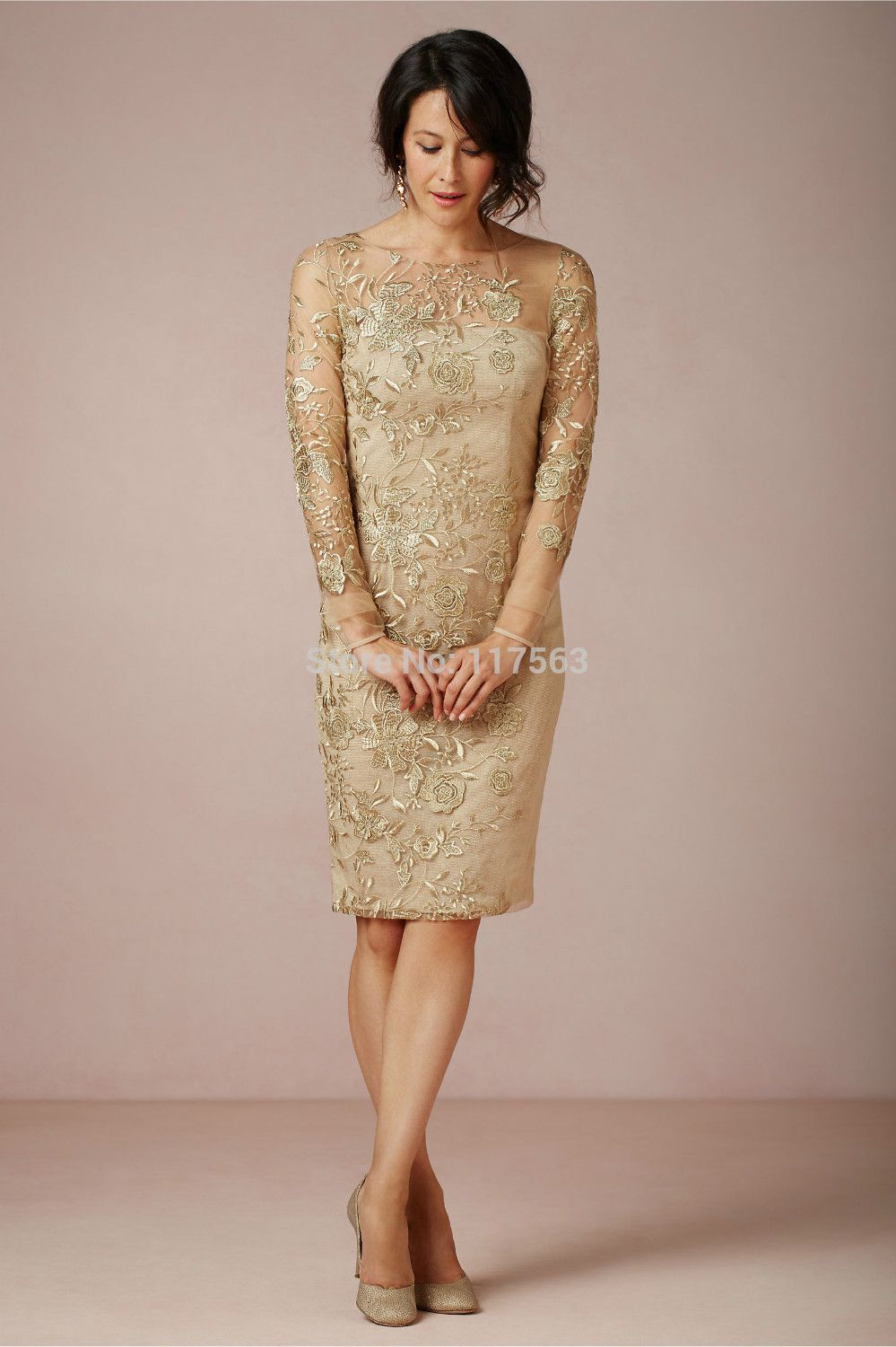 new sheath embroidered roses bateau sheer tulle gold satin long