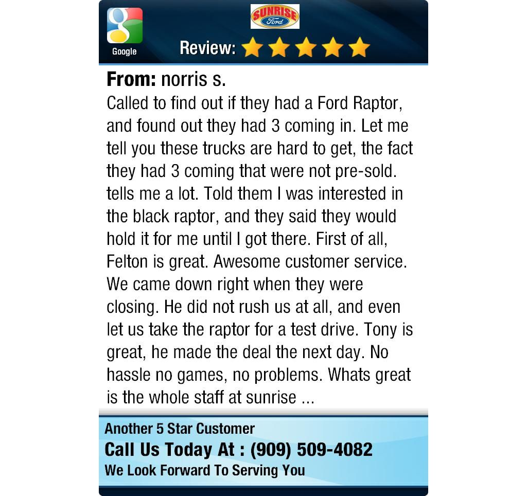 Called to find out if they had a Ford Raptor, and found