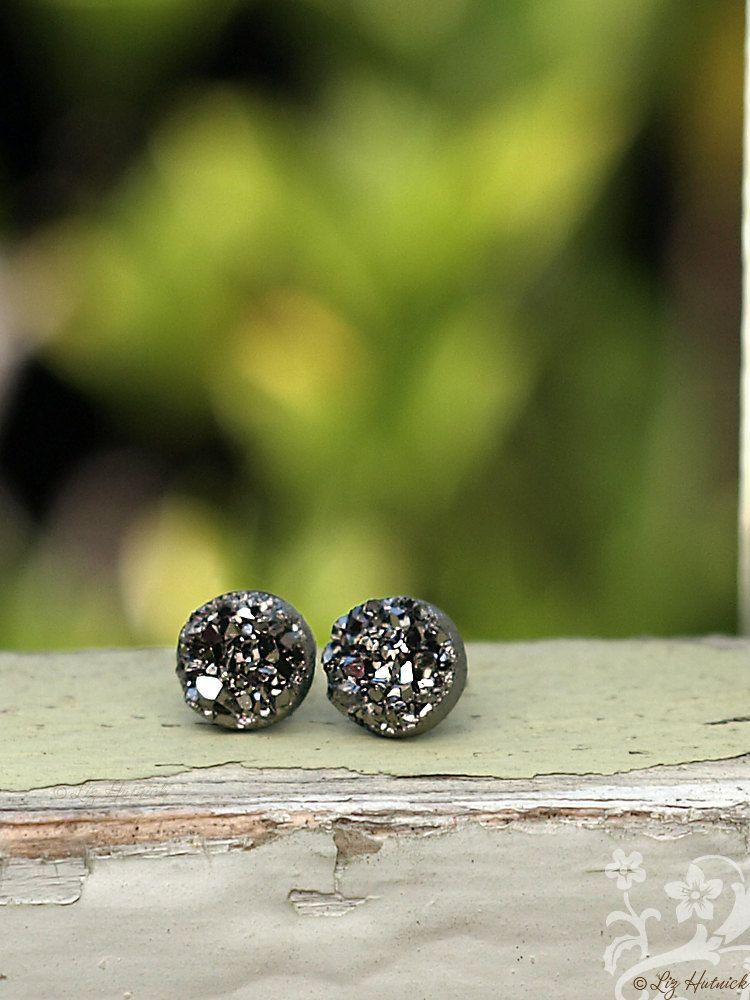 Gunmetal Gray Glitter Studs Faux Druzy Stainless Steel or Titanium Post Earrings 8mm Faux Durzy (6.75 USD) by LizHutnick
