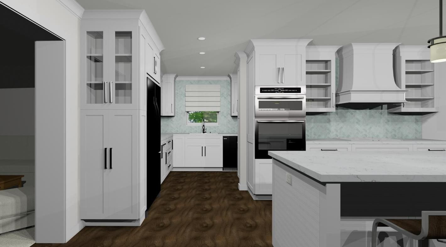White Shaker Kitchen With Open Butler S Pantry Rendering By