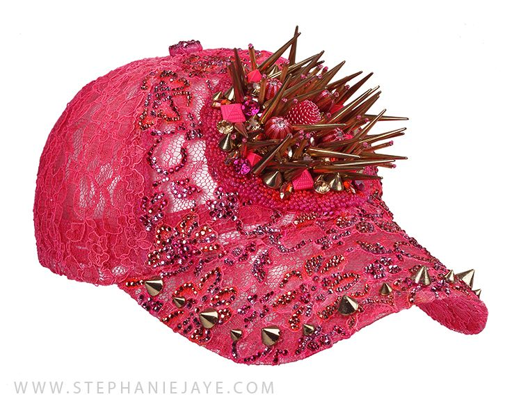 These hats define luxury and creativity. For more on these lace hats with crystals and beads, please contact us at info@stephaniejaye.com