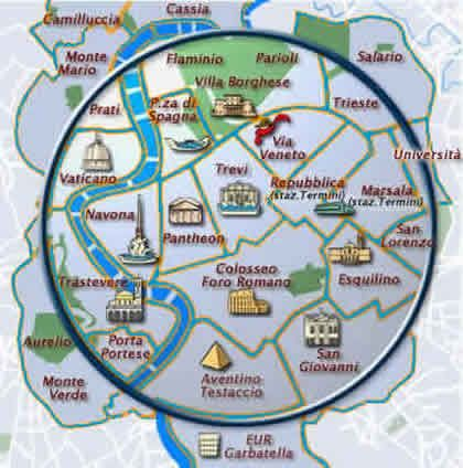 Rome Hotel Districts Map Eternal Rome Italy Pinterest Rome - Rome tourist map attractions