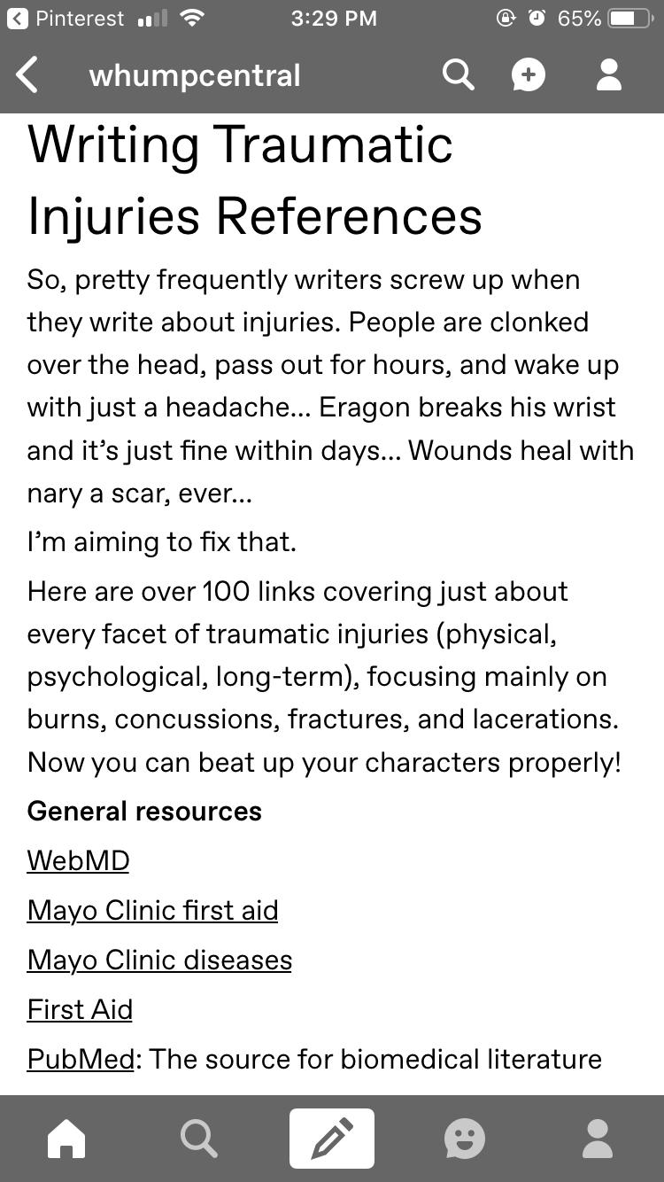 writing traumatic injuries references