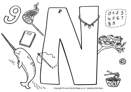 I Spy Alphabet Colouring Page Letter N