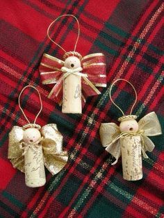 Cork angel ornaments- wooden beads for the head, ribbon for wings.