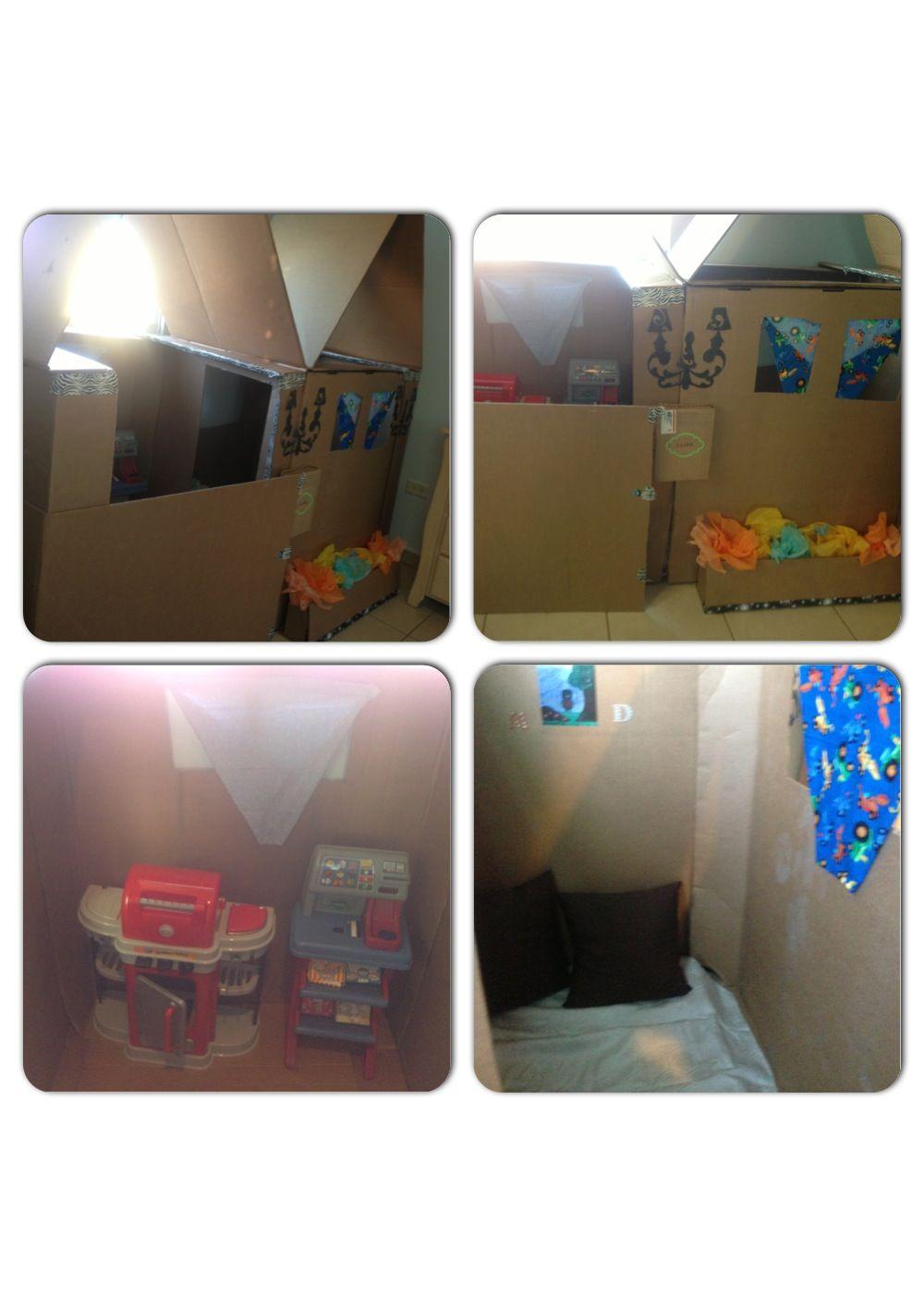 Cardboard house for kids. Casa de cartón para niños.