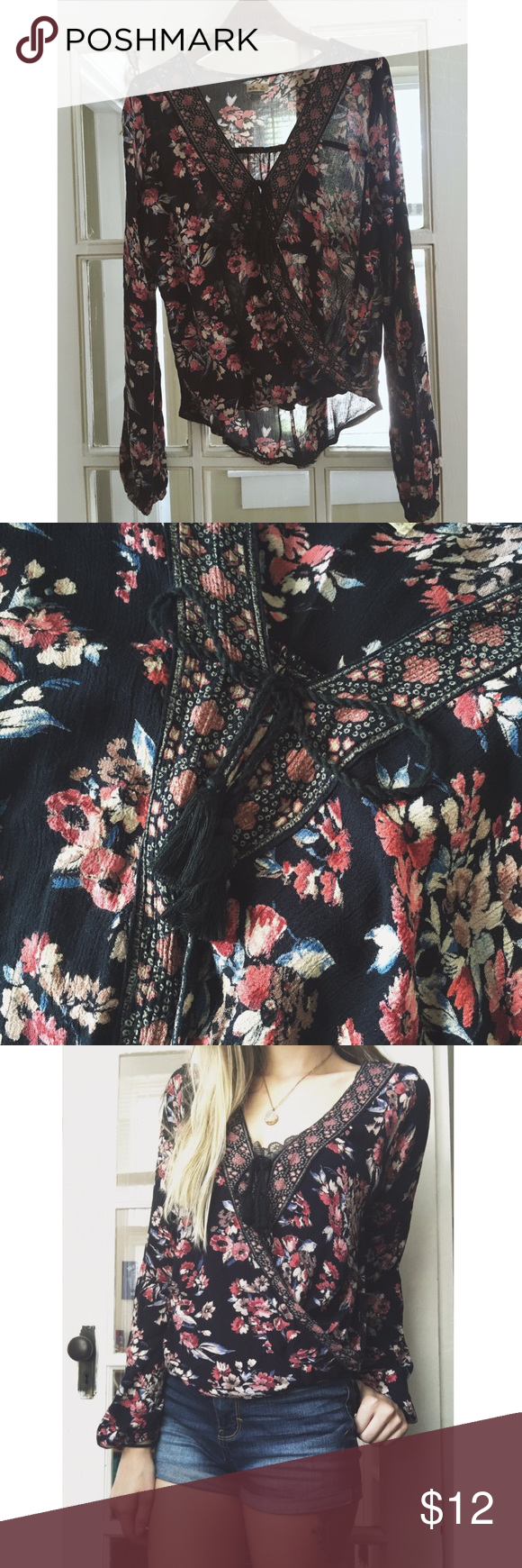 """♡Floral blouse!♡ Super cute, lightweight blouse that ties up in the front. It wraps in the center as well and covers any skin if tied up completely! Black with beautiful red and orange flowers! Model: 5'4"""", 100lbs, 34C ♡ Hollister Tops Blouses"""