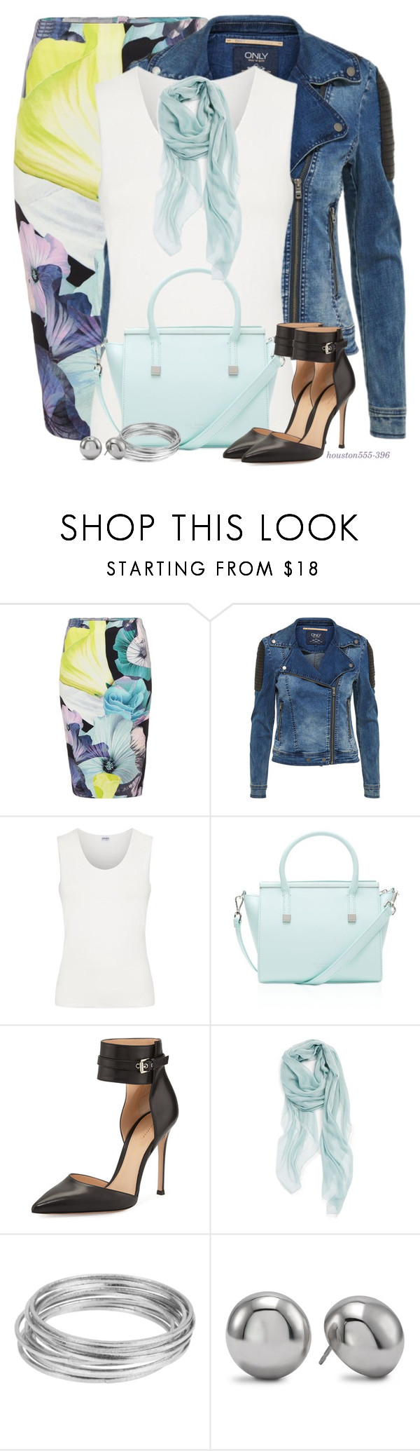 """Denim Jacket & Pencil Skirt"" by houston555-396 ❤ liked on Polyvore featuring Bardot, Armani Collezioni, Ted Baker, Gianvito Rossi, Nordstrom, Worthington and Chico's"