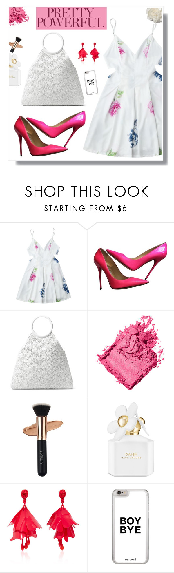 """POWERFUL PINK"" by mooncacti ❤ liked on Polyvore featuring Jimmy Choo, Michael Kors, Bobbi Brown Cosmetics, Marc Jacobs, Oscar de la Renta and Cara"