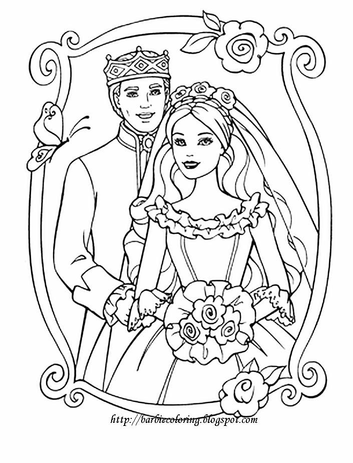 Wedding Day Barbie In Bridal Gown Coloring Pages Barbie Coloring