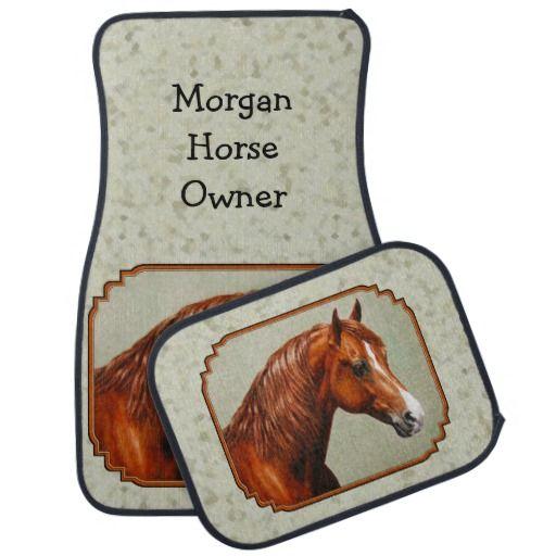 Chestnut Morgan Horse Car Floor Mats Created From An Original Oil