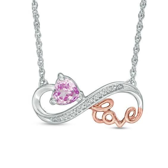 Zales Diamond Accent Heart with Cursive Love Pendant in Sterling Silver and 10K Rose Gold Plate iYJbY