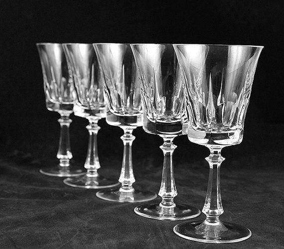 Vintage Crystal Glassware Set Of Five Stemware Leaded
