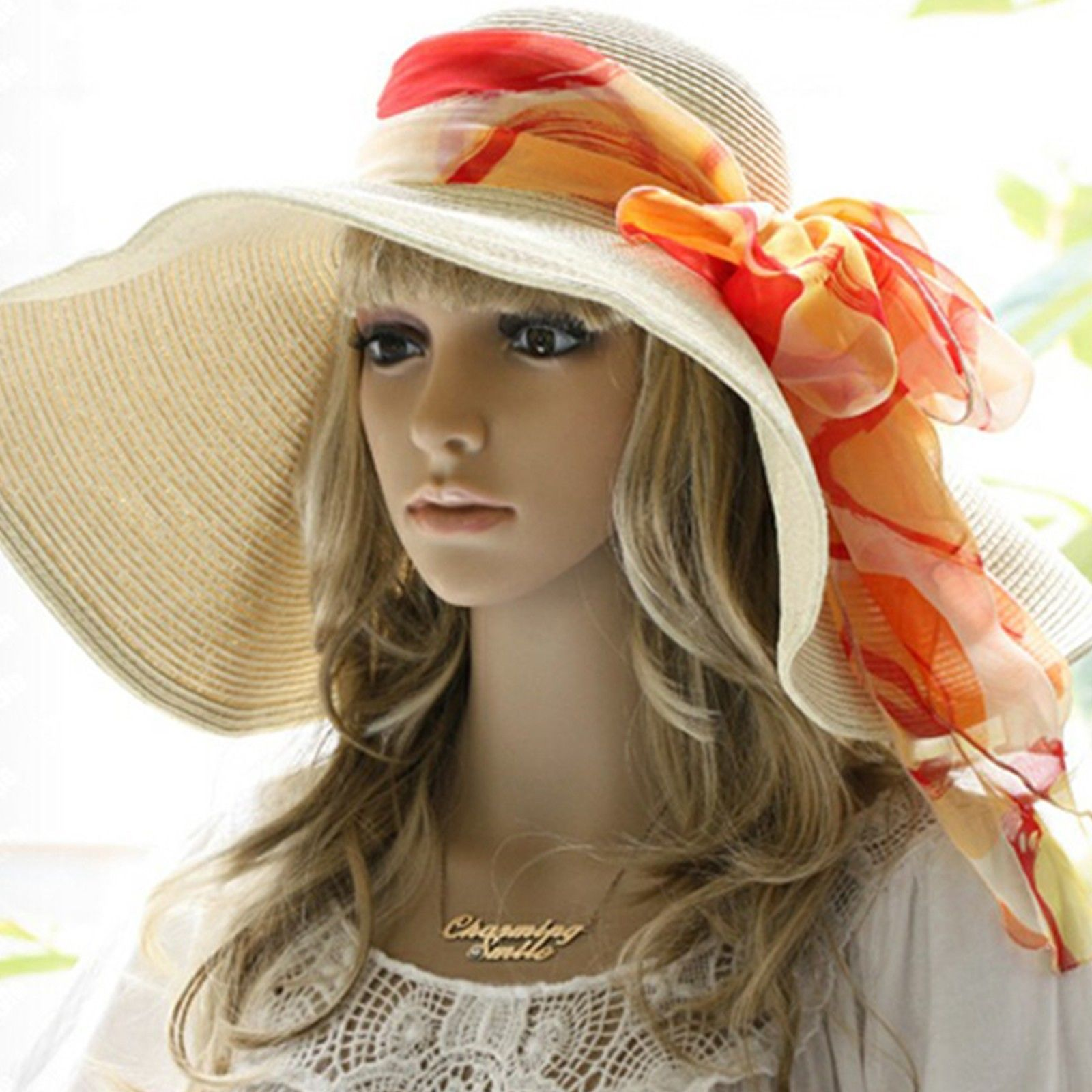 f2b236b31e7ac 17cm Floppy Wide Brim Hat Women Beach Hat Large Derby Hat   Silk ...