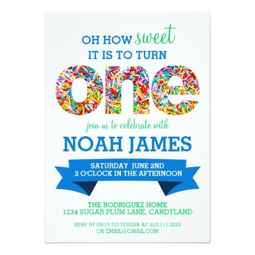 Candy Theme 1st Birthday Party Sprinkles BLUE Card Birthday - invitation card for ist birthday
