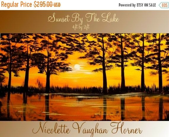 SALE ORIGINAL Abstract Oil Contemporary Landscape Trees by artmod
