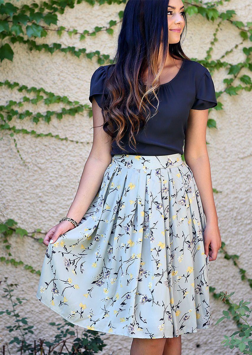 23fce5ede653 MFS6107 - Floral A Line Skirt