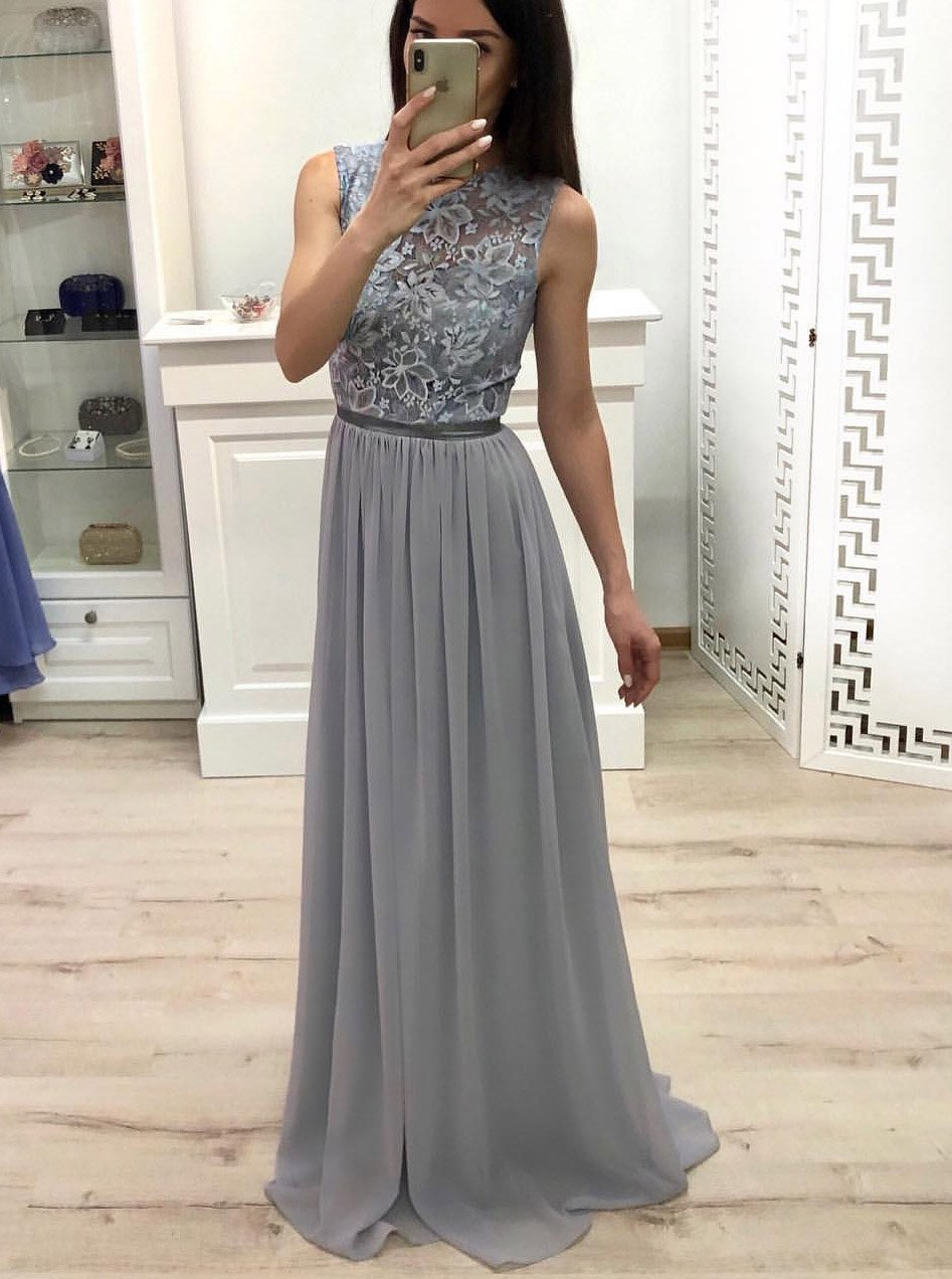 Buy High Neck Chiffon Long Prom Dress Lace Top Grey Bridesmaid Dress Op566 Ombreprom Co Uk Prom Dresses Long Lace Grey Bridesmaid Dresses Bridesmaid Dresses