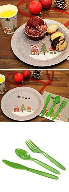 \ OCCASIONS\  Wedding Plastic Plates - Disposable Dinnerware for 25 guests - piece set guests) White with Silver Rim) & Disposable Plastic Christmas Plates. Disposable Dinnerware Set ...