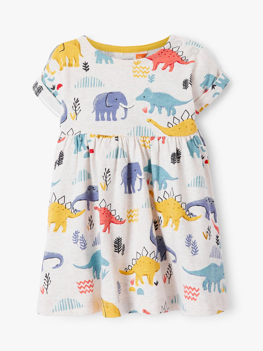 396fc6e9a BuyJohn Lewis & Partners Baby GOTS Organic Cotton Dinosaur Jersey Dress,  Multi, 6-9 months Online at johnlewis.com