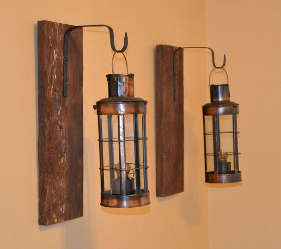 Pair Rustic Wall Sconce Barn Wood Decor Reclaimed Vintage Kerosene Lantern Copper