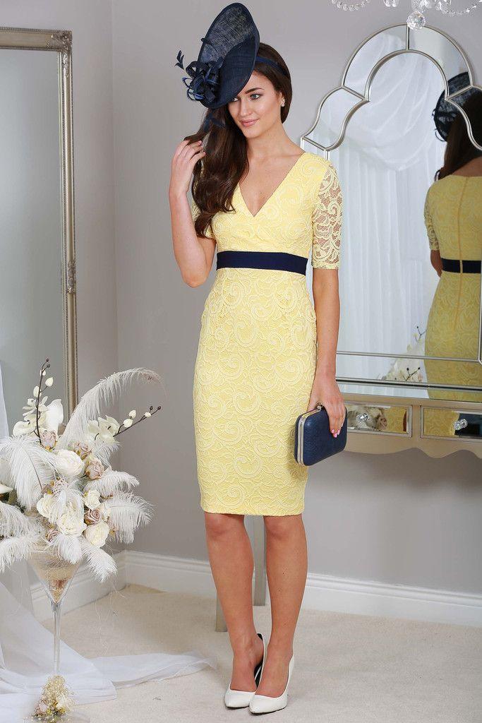 Midi Lemon Yellow Dress Navy Band Occasion Wear Wedding Guest Races