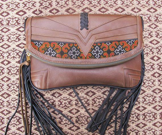 Tribal Clutch Cream Leather Clutch Banjara Clutch by Soulindha, $249.00