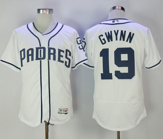 Men's San Diego Padres #19 Tony Gwynn Retired White Home Stitched MLB 2016 Majestic Flex Base Jersey