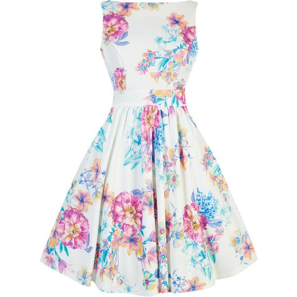 9da5aa5b7486 Summer Pastel Floral Tea Dress ( 66) ❤ liked on Polyvore featuring dresses