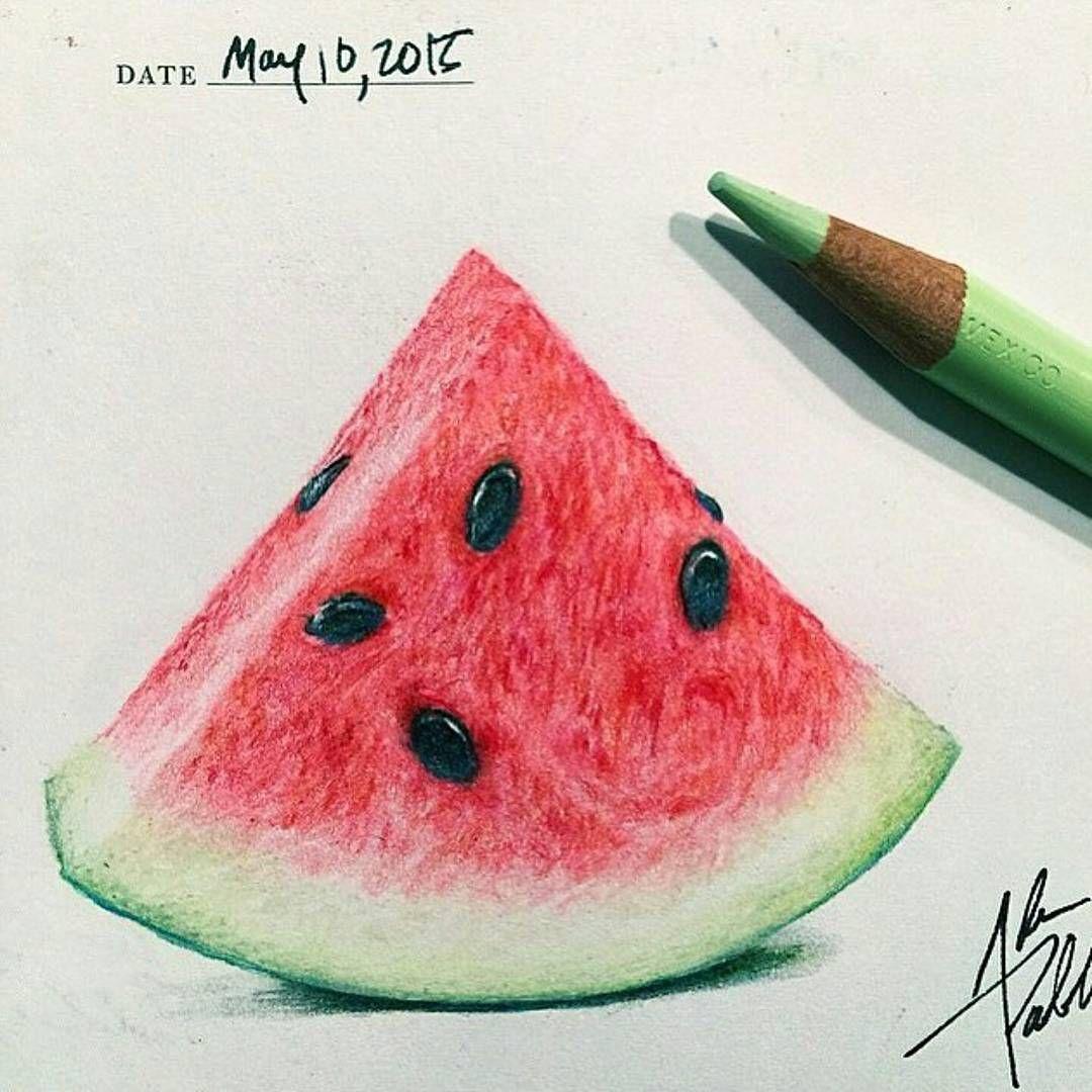 Art Hyperrealism On Instagram Wonderful Watermelon Drawing By Adampadilla Follow Him Follow Colorful Drawings Color Pencil Art Watermelon Drawing