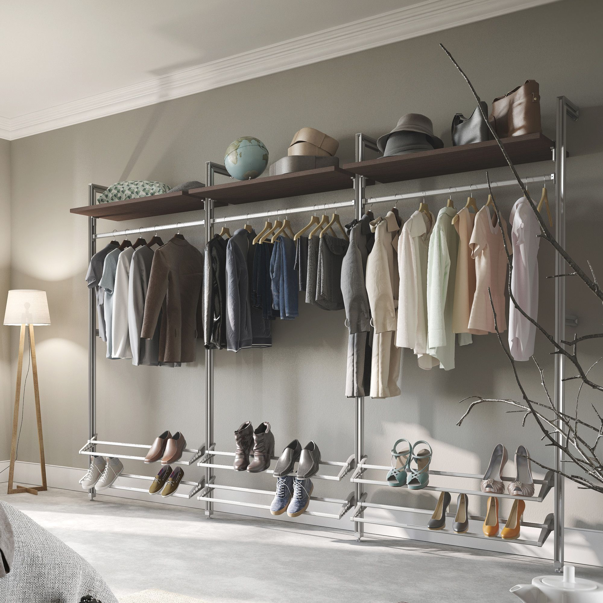 Features:  Includes 4 Floor To Wall Posts, 3 Closet Rod, 6 Shoe Racks, 3  Shelves And 3 Shelf Bracket Pairs.  Aluminum Posts And Rods.