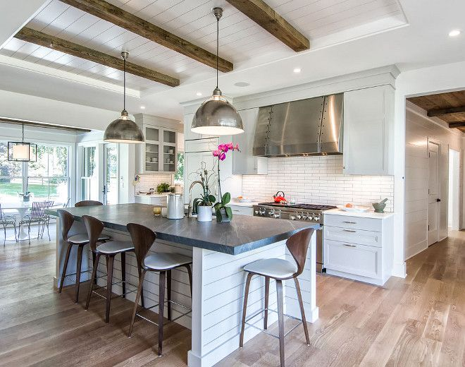 Modern Farmhouse Kitchen With Shiplap Island And Shiplap Beams Tray Ceiling The C Farmhouse Kitchen Decor Farmhouse Style Kitchen Modern Farmhouse Kitchens