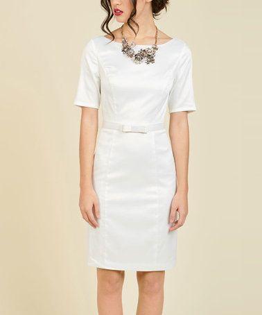 1824aec4 Retro City Hall wedding dress. $40. White Ritzy Wishes Sheath Dress - Plus  Too #zulily #zulilyfinds