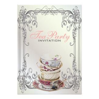 formal tea party invitation  formal elegant swirls white vintage, invitation samples
